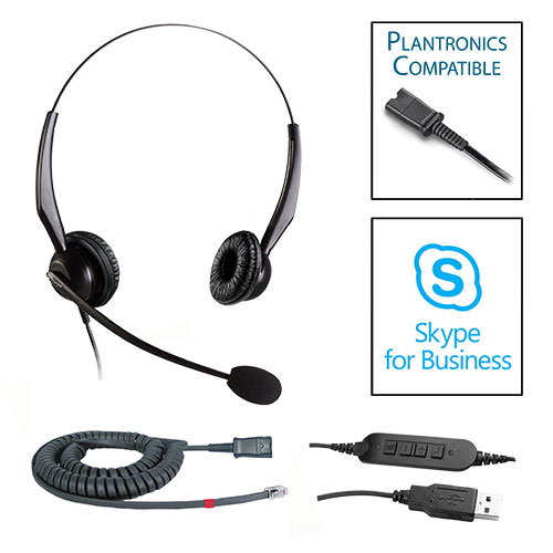 TelPro 2200-P Double-Ear NC Plantronics Compatible Headset Bundle for Avaya 1600 and 9600 Series Telephones (07 Cable) and Skype USB Cable