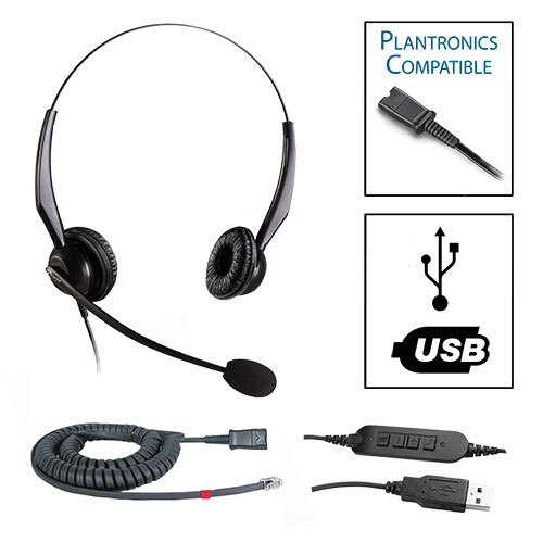 TelPro 2200-P Double-Ear NC Plantronics Compatible Headset Bundle for Avaya 1600 and 9600 Series Telephones (07 Cable) and Common USB Cable