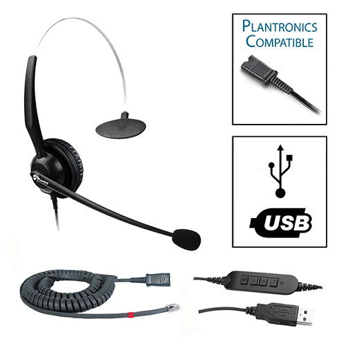 TelPro 1200-P Single-Ear NC Plantronics Compatible Headset Bundle for Avaya 1600 and 9600 Series Telephones (07 Cable) and Common USB Cable