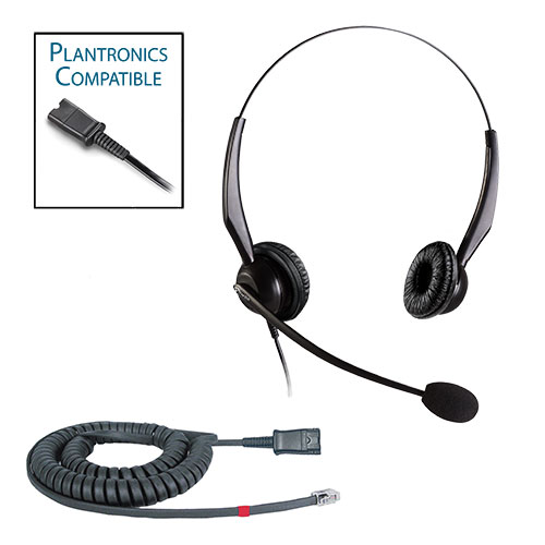TelPro 2200-P Double-Ear NC Plantronics Compatible Headset Bundle for Avaya 1600 and 9600 Series Telephones (07 Cable)