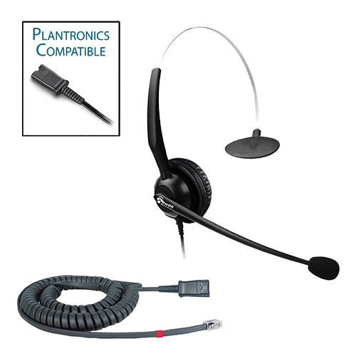 TelPro 1200-P Single-Ear NC Plantronics Compatible Headset Bundle for Avaya 1600 and 9600 Series Telephones (07 Cable)